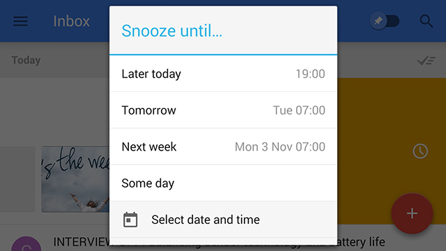 Gmail Inbox Snooze Email